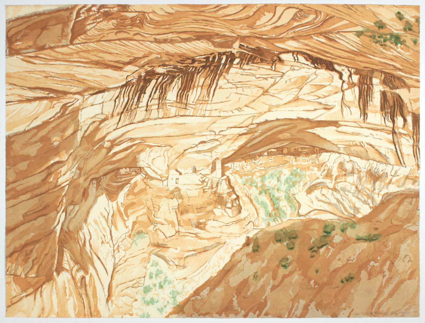 1994 Canyon de Chelly Ruins Aquatint Etching on Paper 33.25 x 44.5