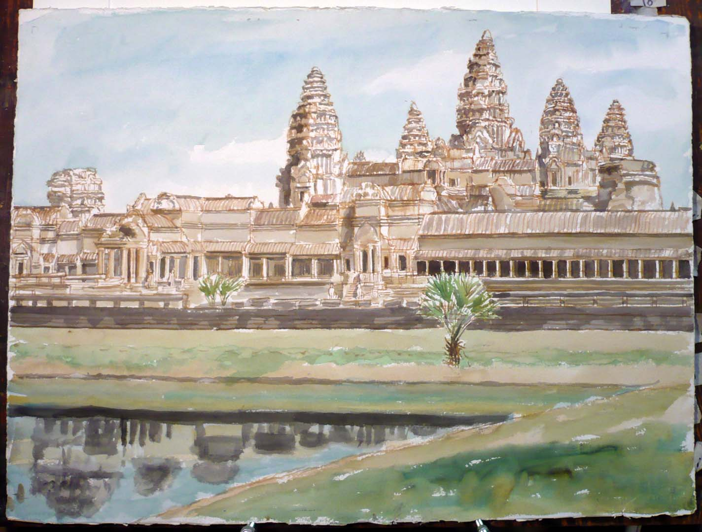 "1998 Angkor Wat Watercolor on Paper 22.5"" x 30.25"""