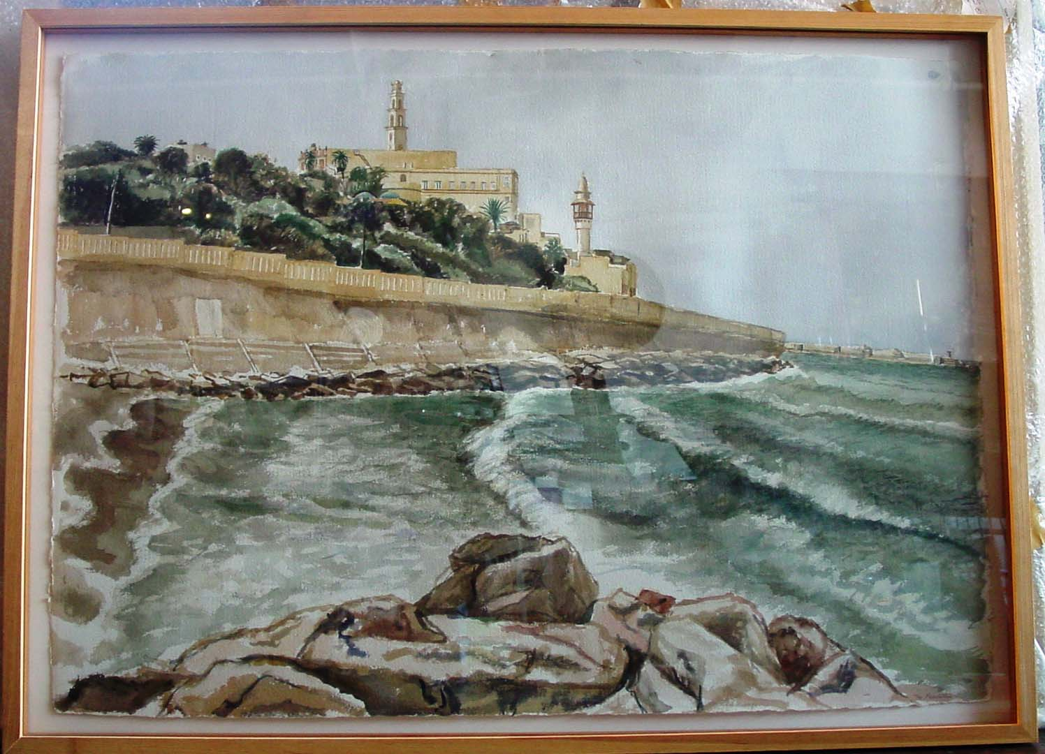 "1997 Jaffa from Tel Aviv Watercolor on Paper 29"" x 42"""