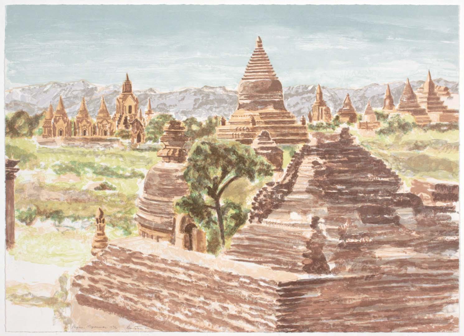 "1997 Pagan Myanmar Lithograph on Paper 23.75"" x 29"""