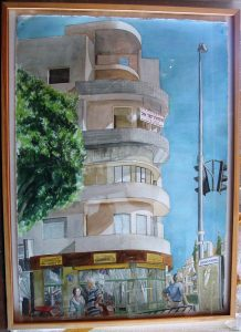 1997 Tel Aviv Bauhus Construction Watercolor on Paper 42 x 29