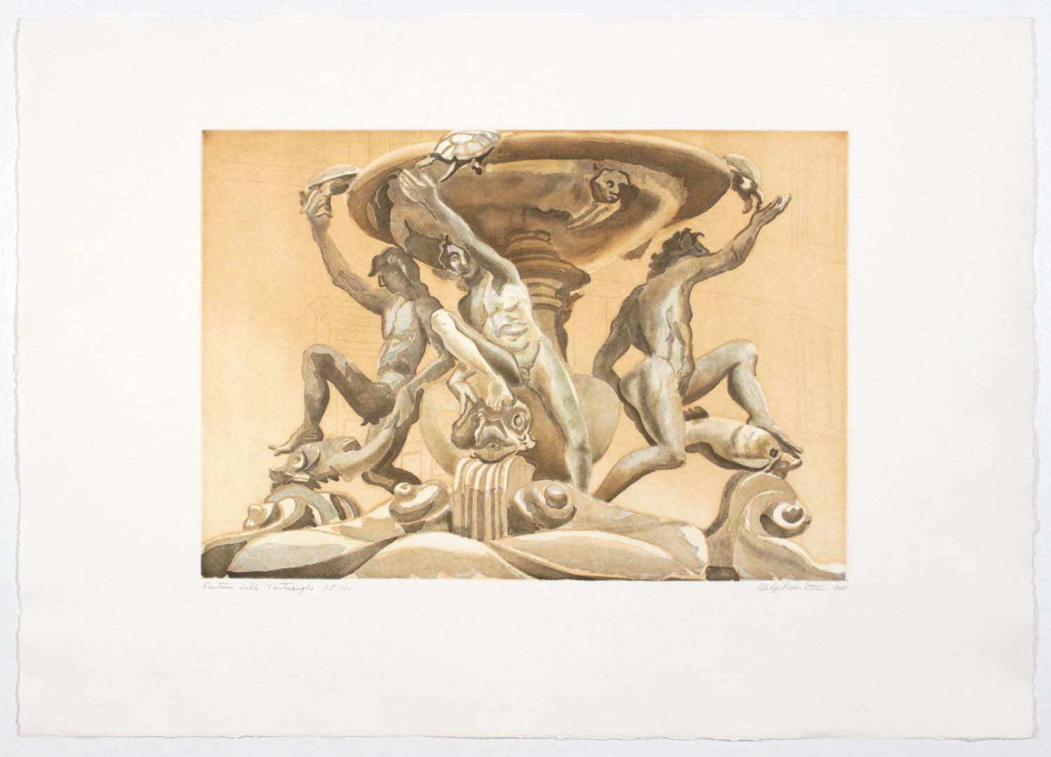 "1998 Fontana Delle Tartarughe Aquatint Etching on Paper 22"" x 31"""