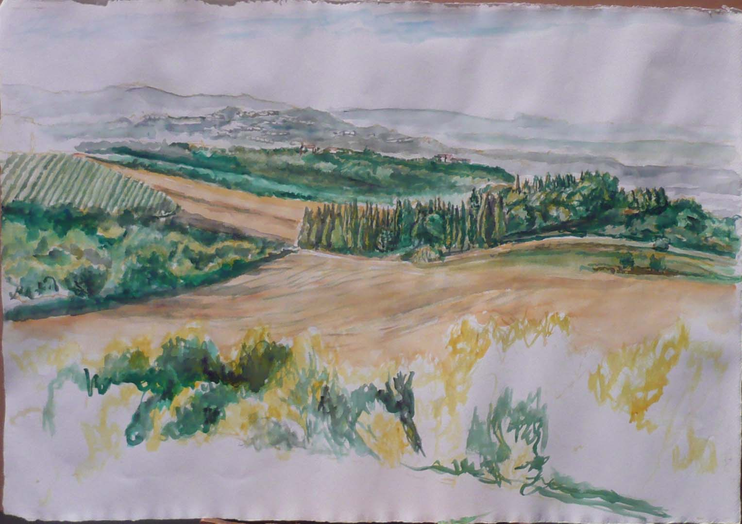 "2009 View Towards Chiusi Watercolor on Paper 22.25"" x 32"""