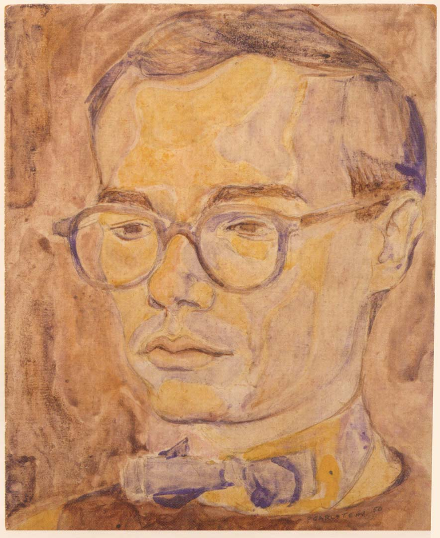 "1950 Portrait of Andy Warhol Oil on composite board 10"" x 8"""