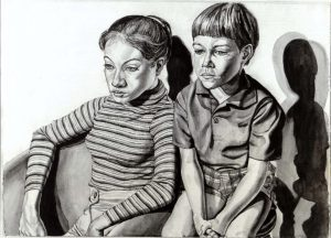 1970 Portrait of Michael Berger's Children (B&W of a color painting) Oil Dimensions Unknown