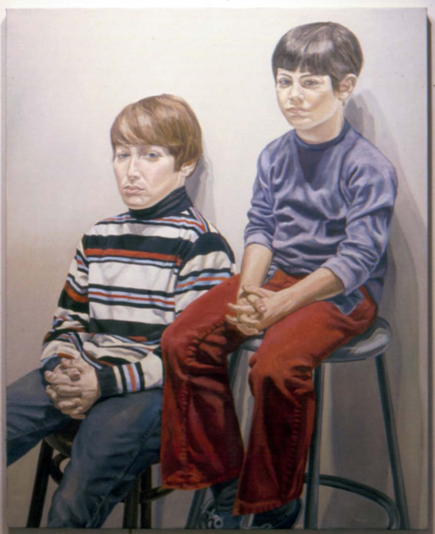 "1972 Portrait of Adam & Jason Katz Oil 60"" x 42"""