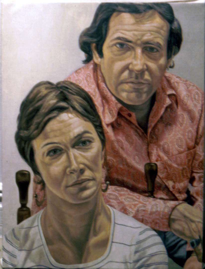 """1973 Portrait of Mr & Mrs Martin Meltzer Oil 48"""" x 36"""""""