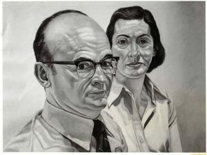 1975 Portrait of Jerome and Ponnie Weiner Oil on canvas 28 x 40