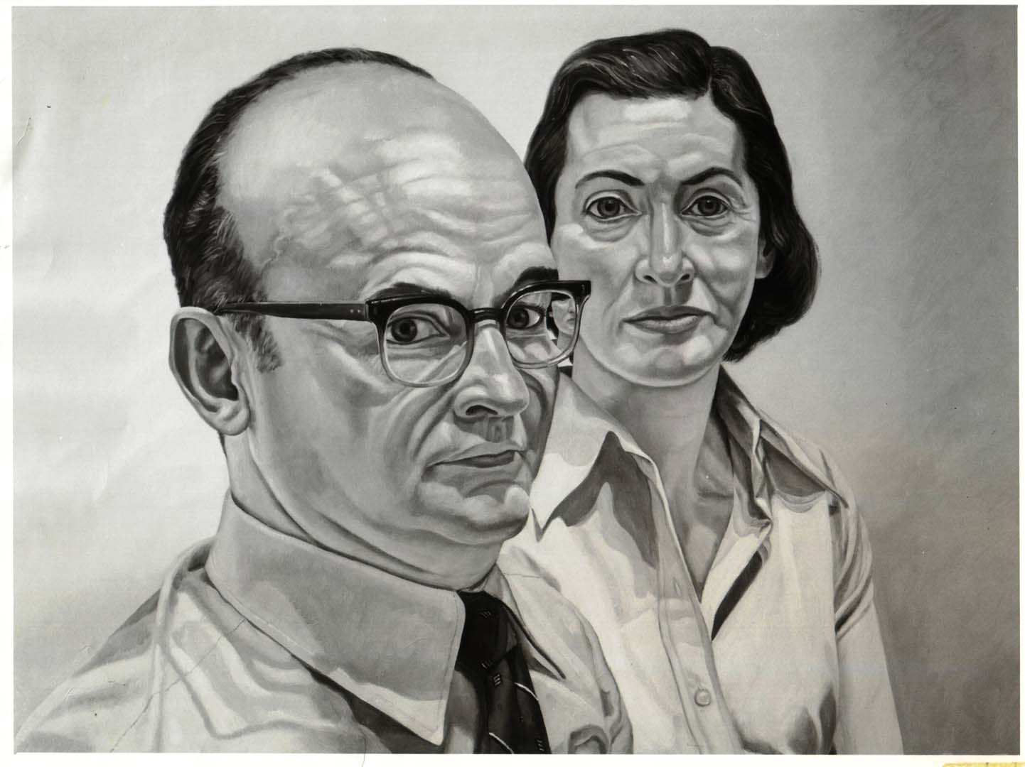 "1975 Portrait of Jerome and Ponnie Weiner Oil on canvas 28"" x 40"""