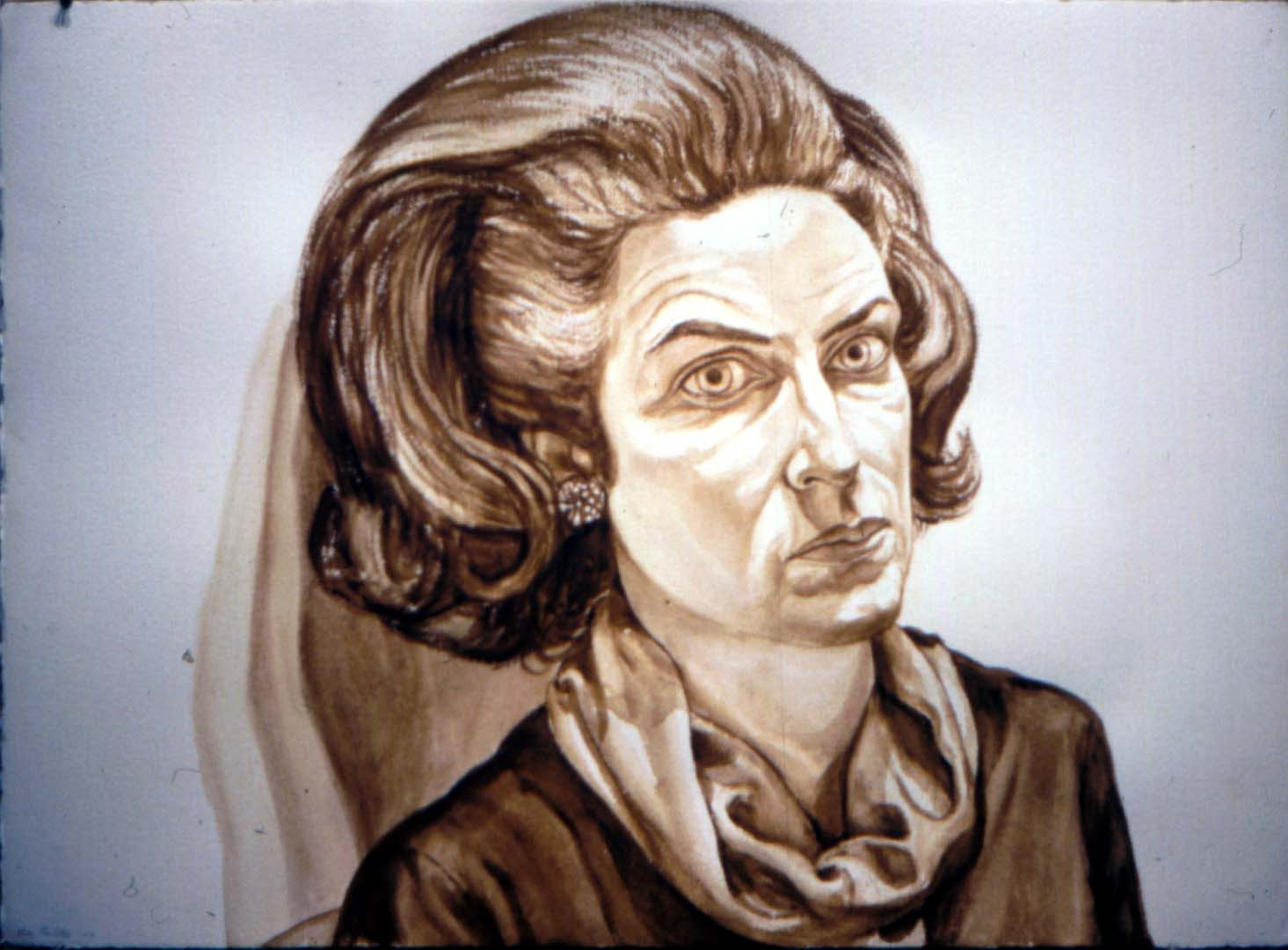 "1976 Portrait of Barbara Schofield Watercolor 29.5"" x 41"""