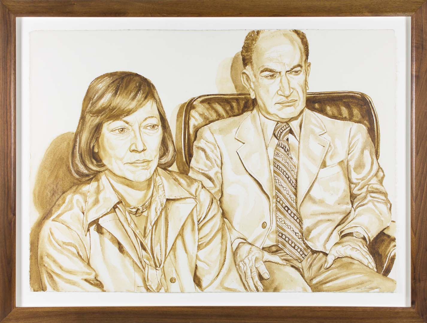 "1976 Portrait of Shirley & Mr Aidichman Wash approx. 29"" x 40"""