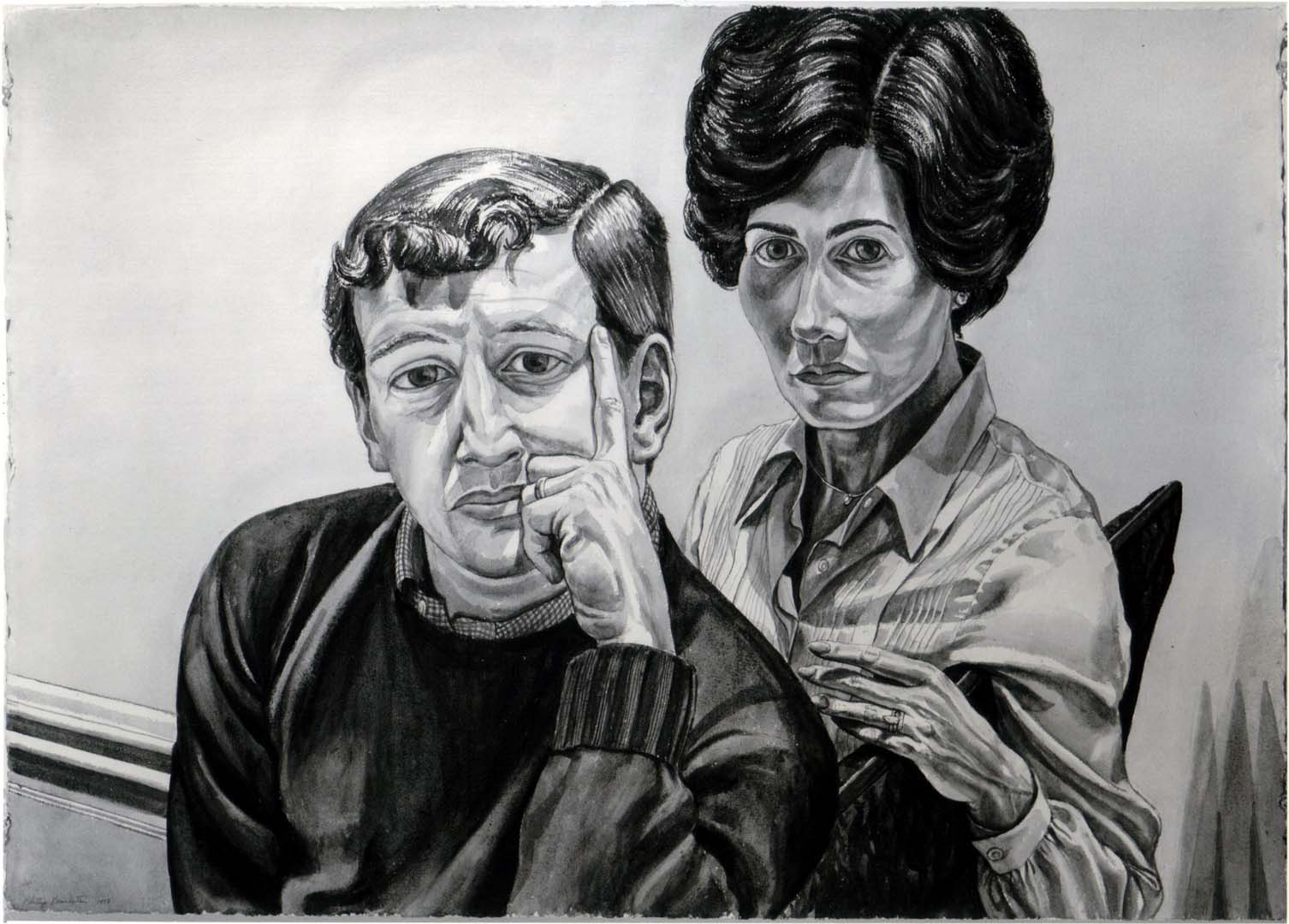 1978 Portrait of Mr. & Mrs. Fred Nachman Sepia wash 29.5 x 40.5