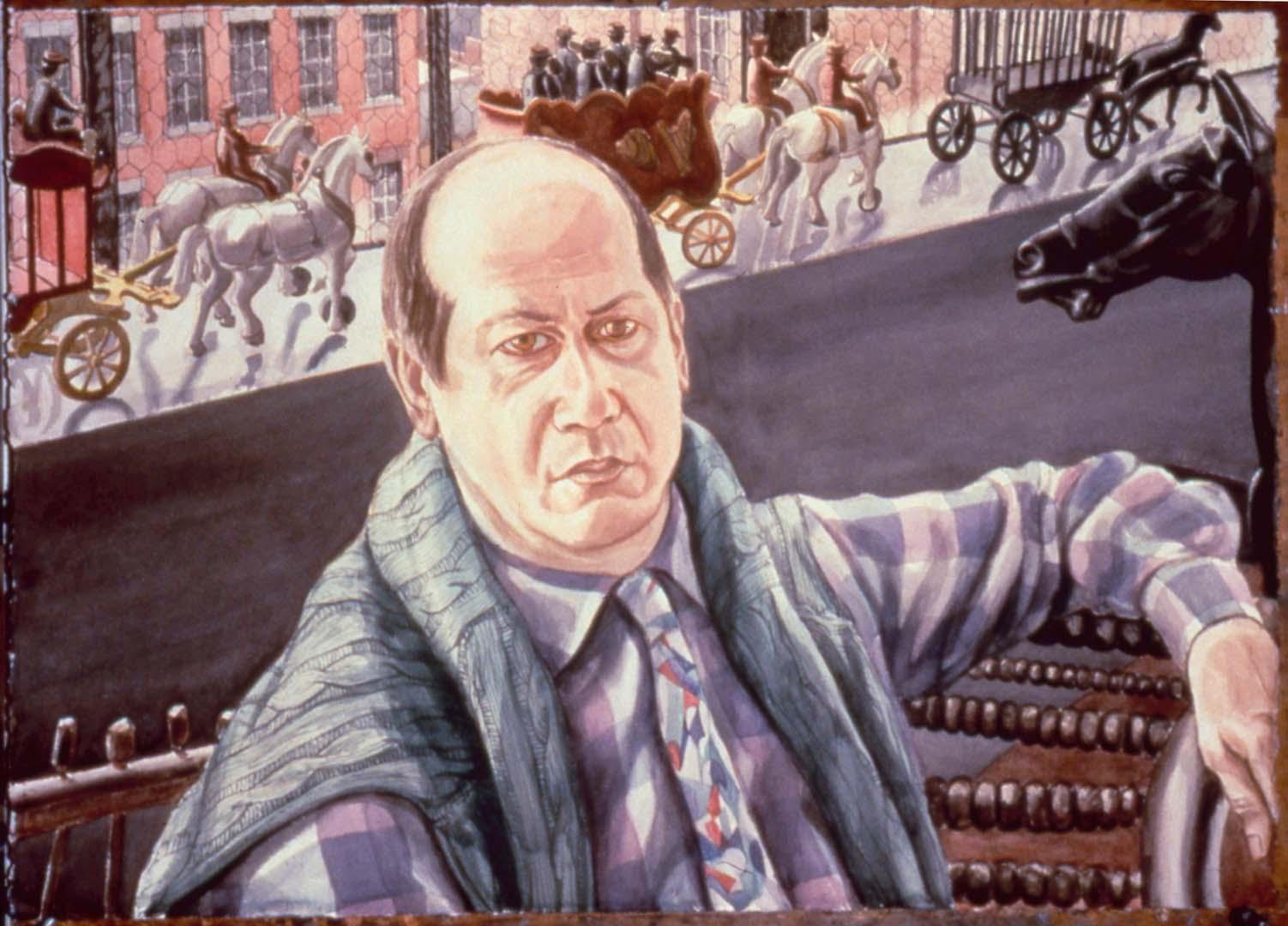1987 Portrait of Adriano Magistretti Watercolor 29.5 x 41