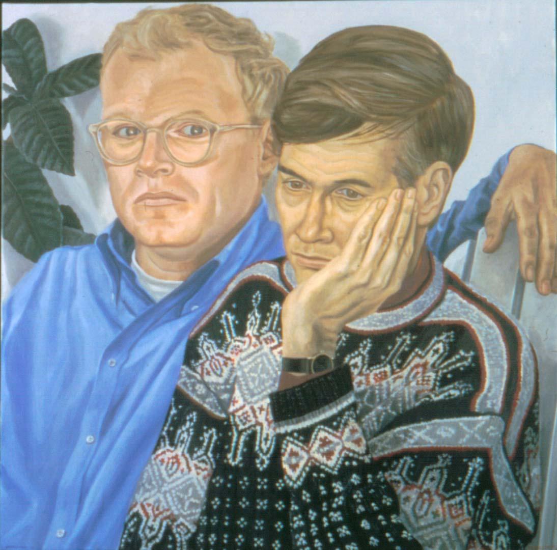 2001 Portrait of Charles Von Nostitz & Christian Malcolm Oil 34 x 34