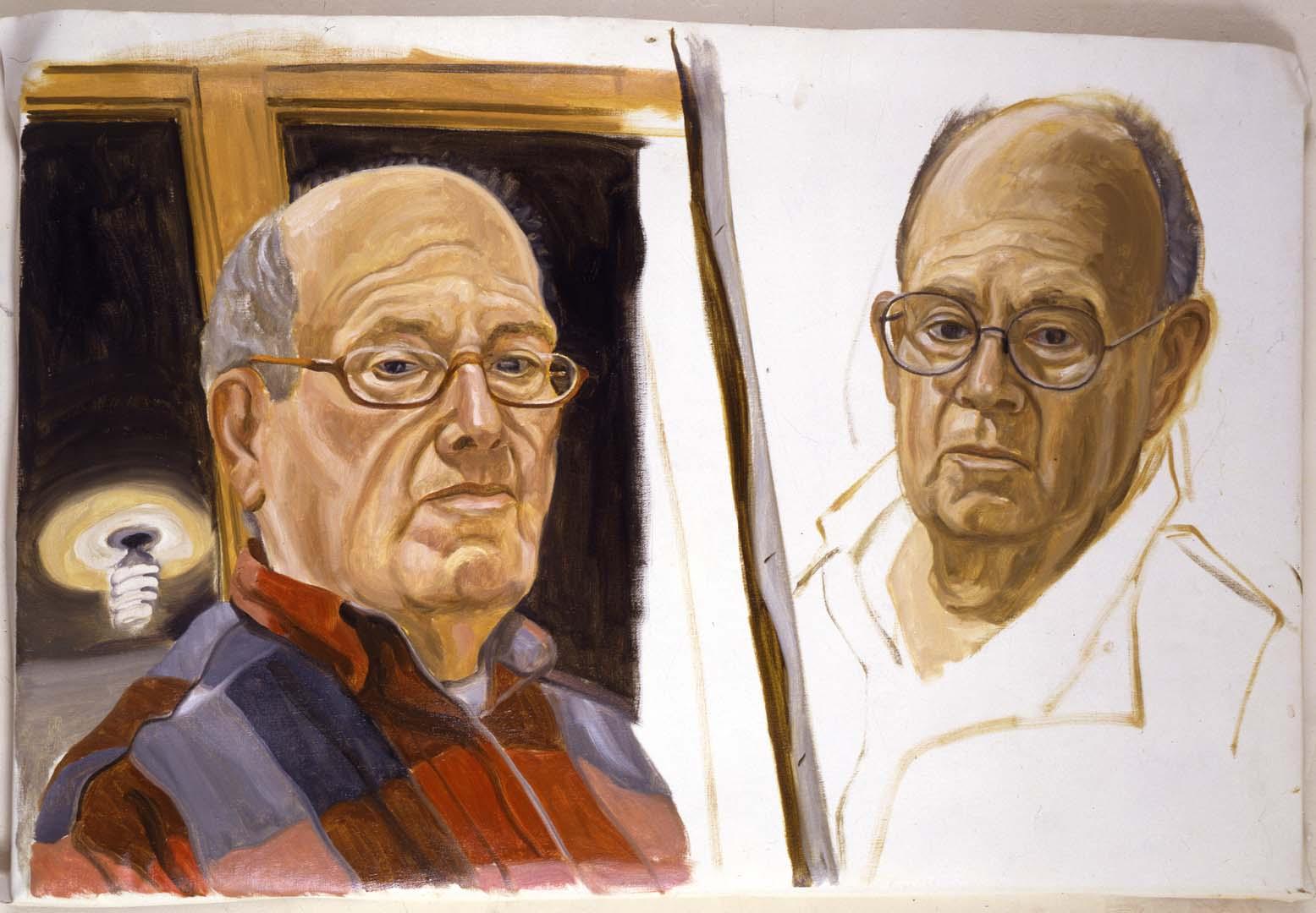 2001 Self Portrait-Two Sketches Oil 26.5 x 40