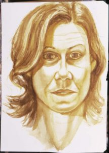 2003 Portrait of Michele Heinrici Sepia wash Dimensions Unknown