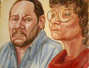 2009 Agatha and Chris Wyman Portrait Watercolor Dimensions Unknown